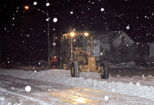 Town crews have been busy this past week, clearing snow from residential and main streets.