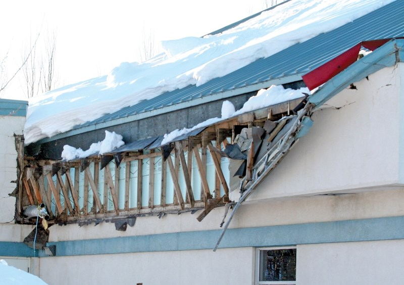 Damage to the roof on the south side of the Westlock Recreation Centre will be given a temporary patch job before more extensive repairs are done in the spring, said town CAO