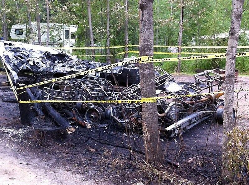 This is all that remains of three quads and a boat that were destroyed in a fire Aug. 1 at the Long Island Lake Municipal Campground.