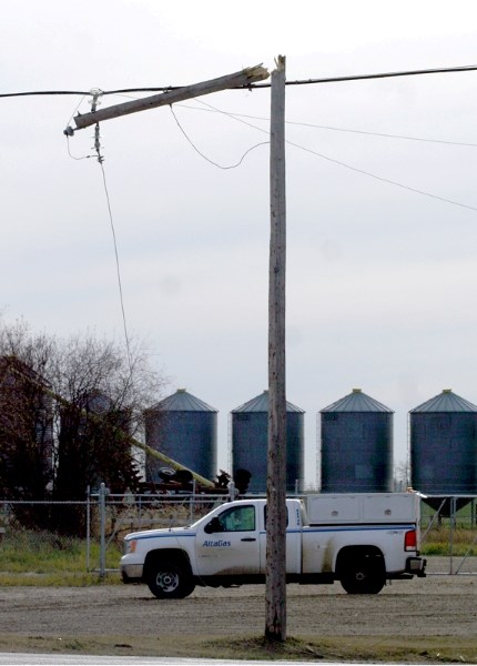 This broken power line was the reason Westlock was plunged into darkness last Wednesday.