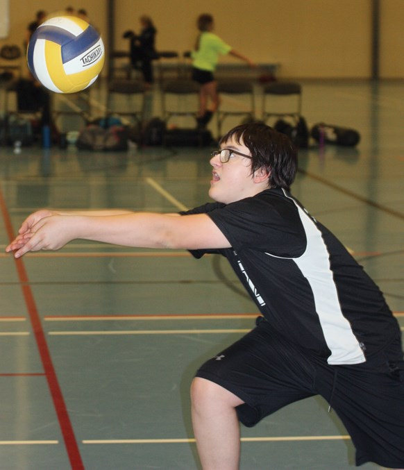R.F. Staples School's Josef Pidsadowski gets a good look at the ball during the T-Birds bronze medal game against Barrhead during the Pembina Hills Divisional 7/8 Volleyball Tournament Nov. 5 at the Rotary Spirit Centre.