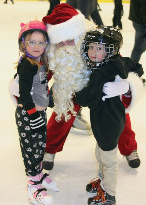 The one and only Santa Clause made an appearance at the Rotary Spirit Centre Nov. 17 ahead of his busy season at the North Pole and Alexis Harley and Parker Reay were among the lucky kids who got to meet him. The Skate with Santa event is the official kick-off of Light Up Week in Westlock which will include a parade (map below) and family dance this Friday starting at 6:15 p.m.