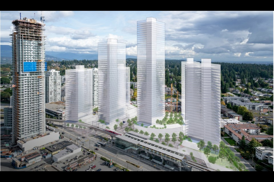 Aerial view of the new Burquitlam Plaza, looking east.