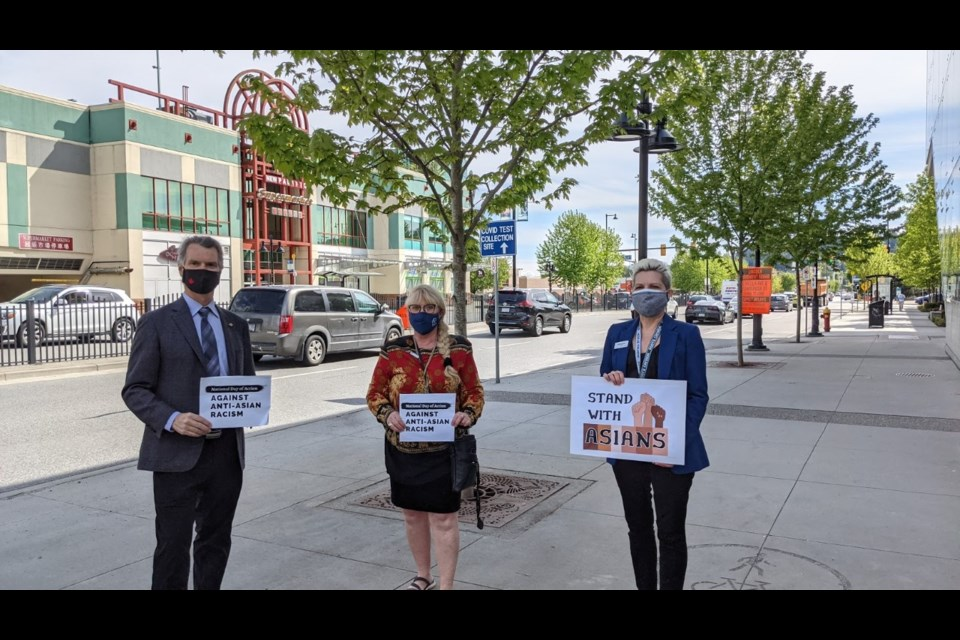 MLA Fin Donnelly, Coun. Nancy McCurrach and Coun. Bonita Zarrillo protested at the Lincoln station on Monday afternoon.