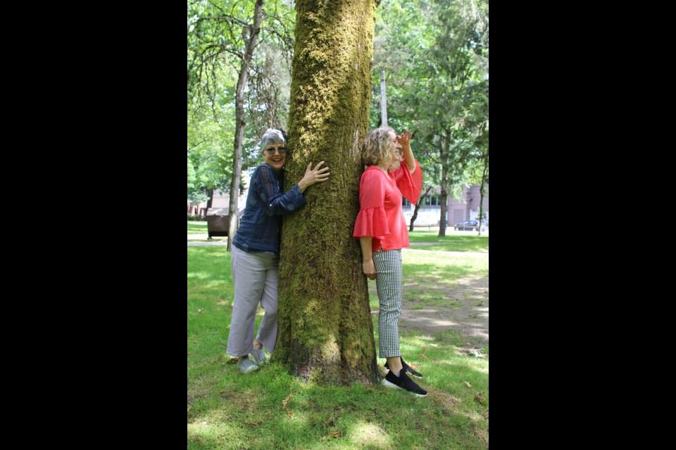 Elvira Monteforte (left) with artistic collaborator Dolores Altin, at Lions Park in Port Coquitlam.