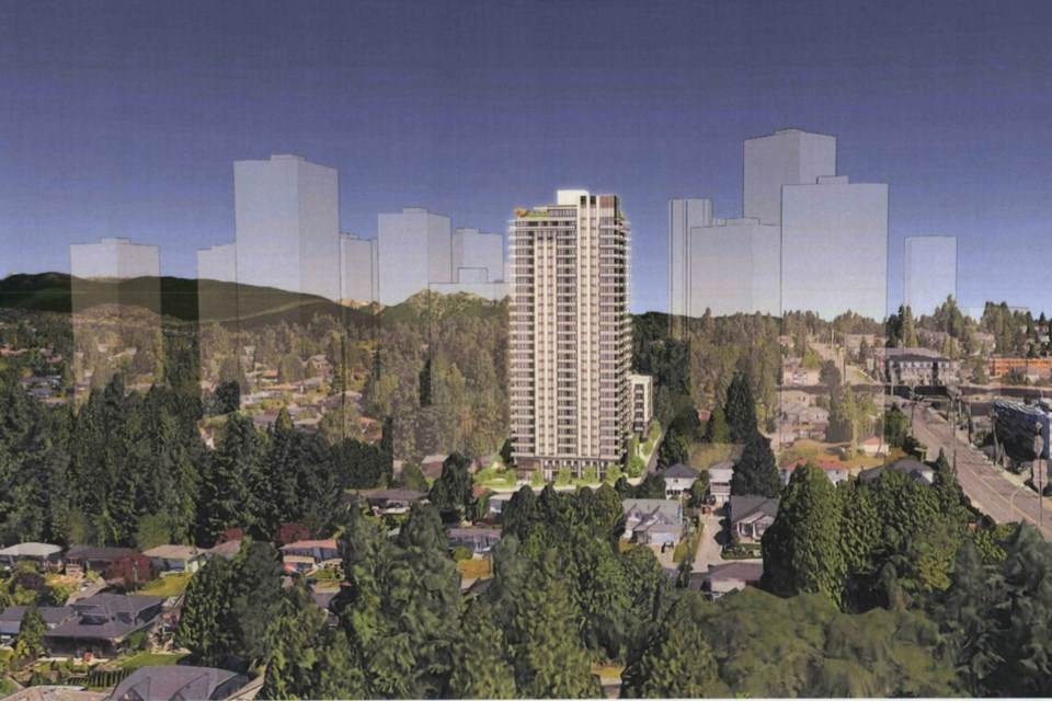 A rendering of the proposed condo tower and rental building in the Oakdale neighbourhood of Coquitlam. The bid will go to public hearing on Oct. 18.