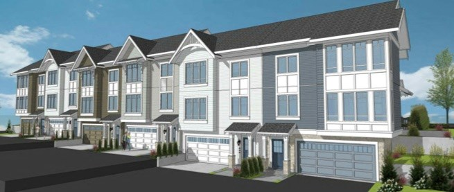 A rendering of the townhomes proposed for Burke Mountain.