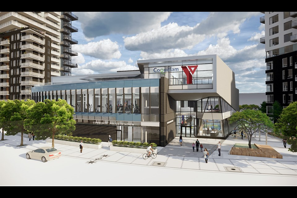 Artwork of the future YMCA, looking southeast at the building entry from the new Emerson Street extension.