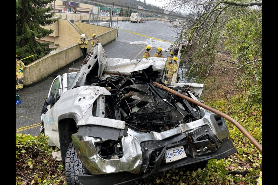 """""""The front end looked like a porcupine, it had so many poles sticking out of it,"""" said Fox of Coquitlam Fire and Rescue after a pickup plunged on an embankment Friday afternoon near Lougheed Highway and North Road."""