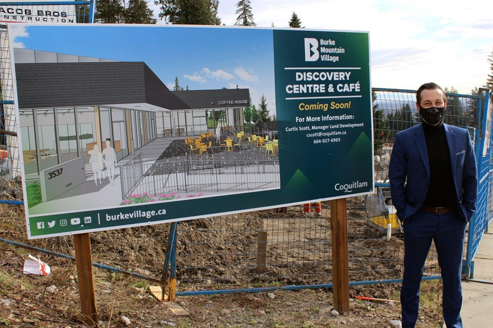 Curtis Scott, Coquitlam's manager of land development for city lands, at the construction site for the Burke Mountain Discovery Centre and café, at the intersection of David and Princeton avenues. The city facility, when built later this year, will serve as a gateway to the future northeast Coquitlam commercial hub, down the street at Princeton Avenue and Mitchell Street, and a sales centre for municipal property.