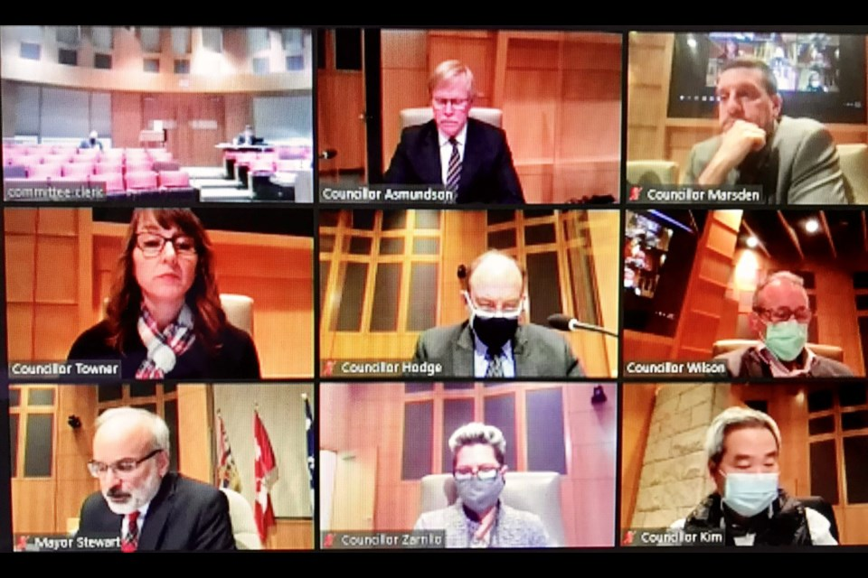 An image of the Coquitlam city council meeting on Monday night, via Zoom, before the public hearing began (Coun. Trish Mandewo was not present).