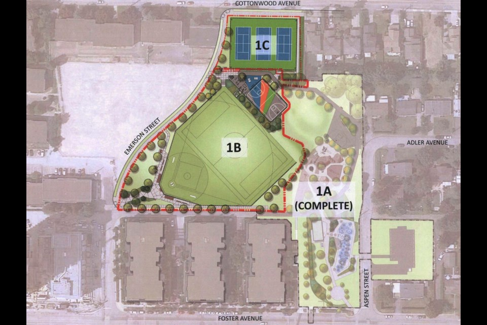 Phase 1B of Cottonwood Park construction, to be finished by November 2021. IMAGE/CITY OF COQUITLAM
