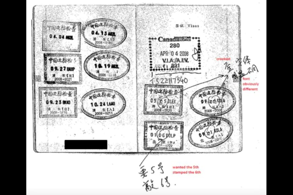 "Handout image from CBSA shows how Xun ""Sunny"" Wang, owner of New Can, used fake stamps in the largest immigration fraud investigation in the province's history."