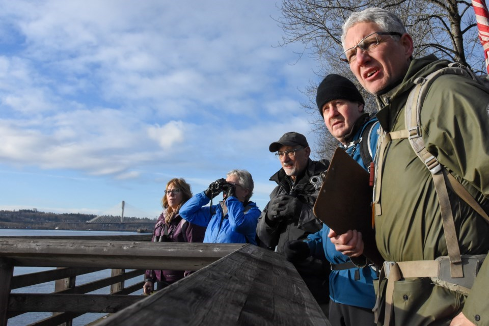 A group of Burke Mountain Naturalists led by Ian MacArthur (right), look for water birds along the Pitt River during the 2020 Christmas Bird Count.