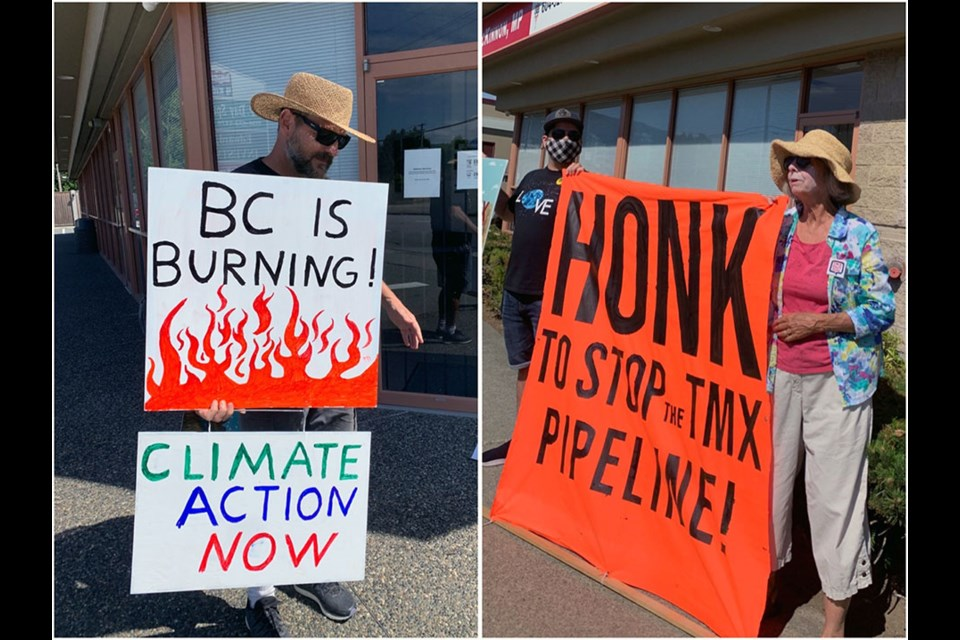 A Climate Crisis Coquitlam rally was held on July 15, 2021, in front of Coquitlam-Port Coquitlam MP Ron McKinnon's office by a group hoping to bring attention to climate change amid B.C.'s recent heat wave and current wildfire season.