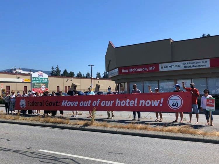 Striking Pacific Gateway hotel union workers rallied outside Coquitlam-Port Coquitlam MP Ron McKinnon's office asking to have their jobs protected after most of its women workforce has been terminated since February 2021.