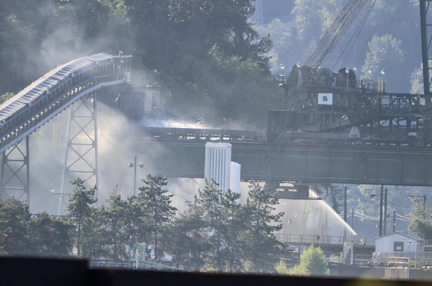 Port Moody Department attended a blaze at Pacific Coast Terminals Sunday (July 18, 2021).