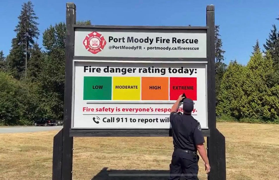 Port Moody Fire Rescue - fire danger rating extreme July 22, 2021