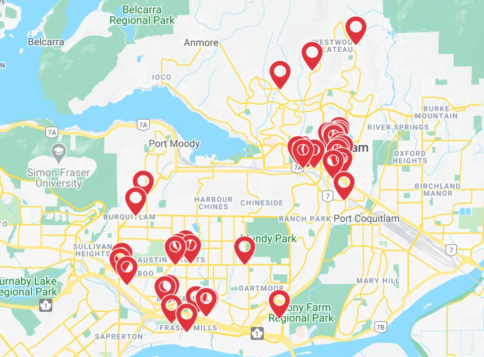 Coquitlam outdoor dining map