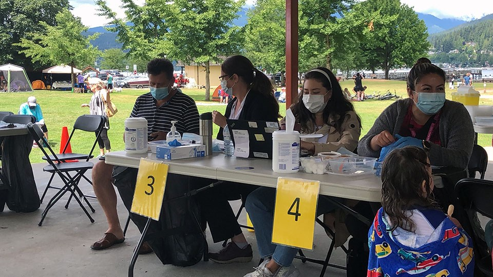 Fraser Health hosted a pop-up immunization clinic at Port Moody's Rocky Point Park on July 17, 2021, where eligible residents who had not received their first dose could get jabbed, while those looking for a second were placed on a waitlist.