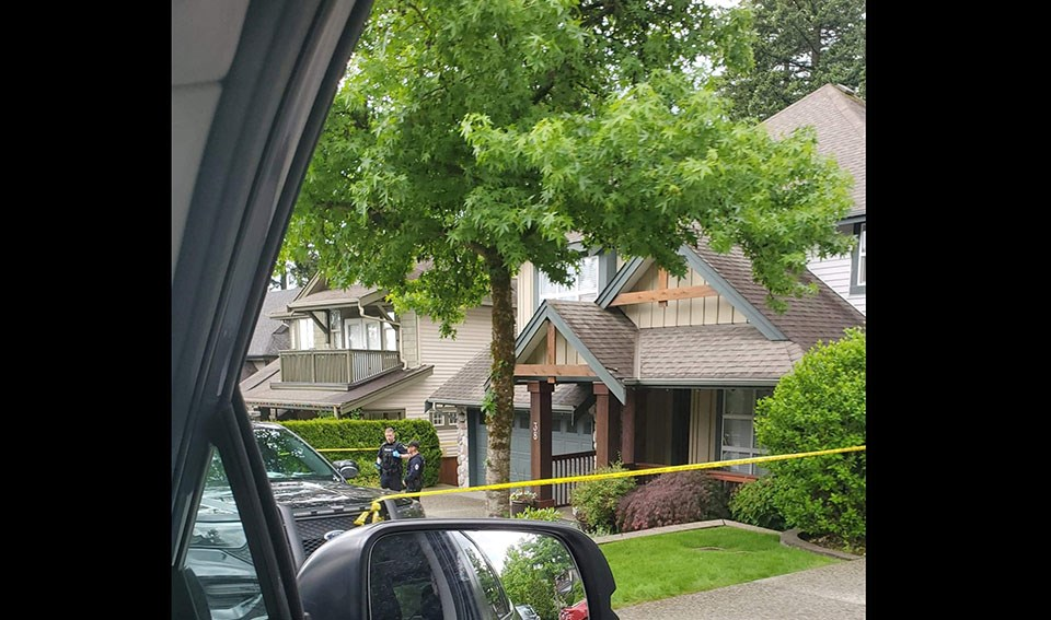Police tape around Trina Hunt's Port Moody home on June 5, 2021, as her homicide investigation continues.