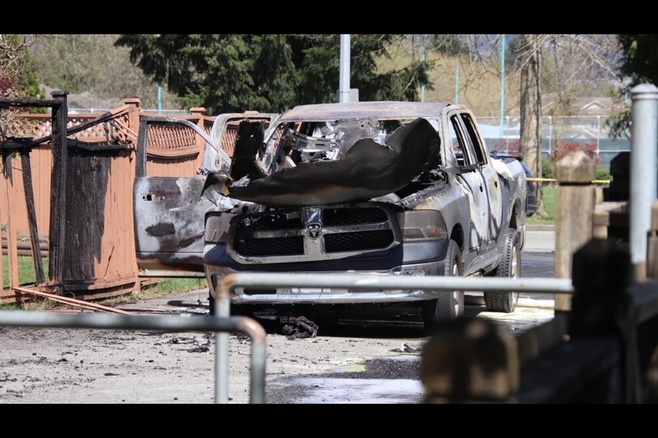 A truck burned out at the 1200-block of Riverside Drive in Port Coquitlam is believed to be linked to a morning murder in Langley.