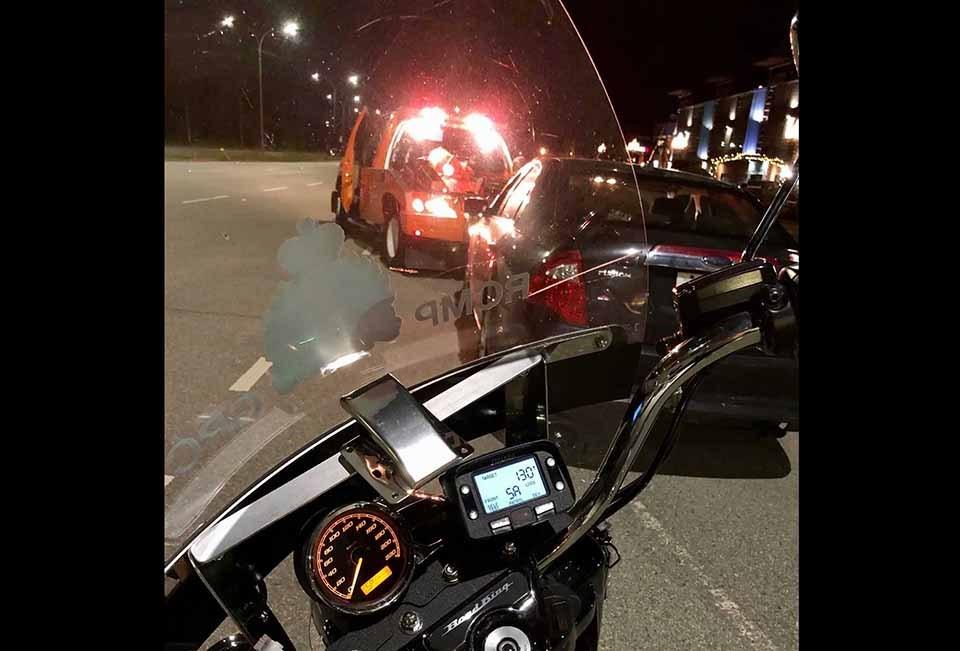 Coquitlam RCMP motorcycle radar - 130 km vehicle