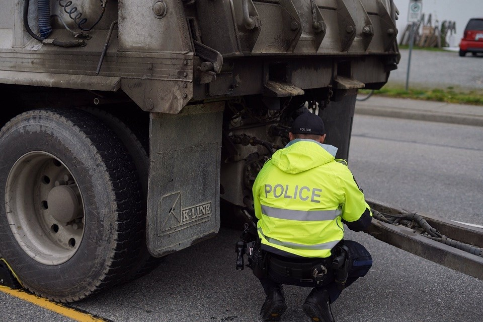 Port Moody police and other local detachments issued more than 30 violations in one day during a stint of commercial vehicle enforcement on Oct. 12, 2021.