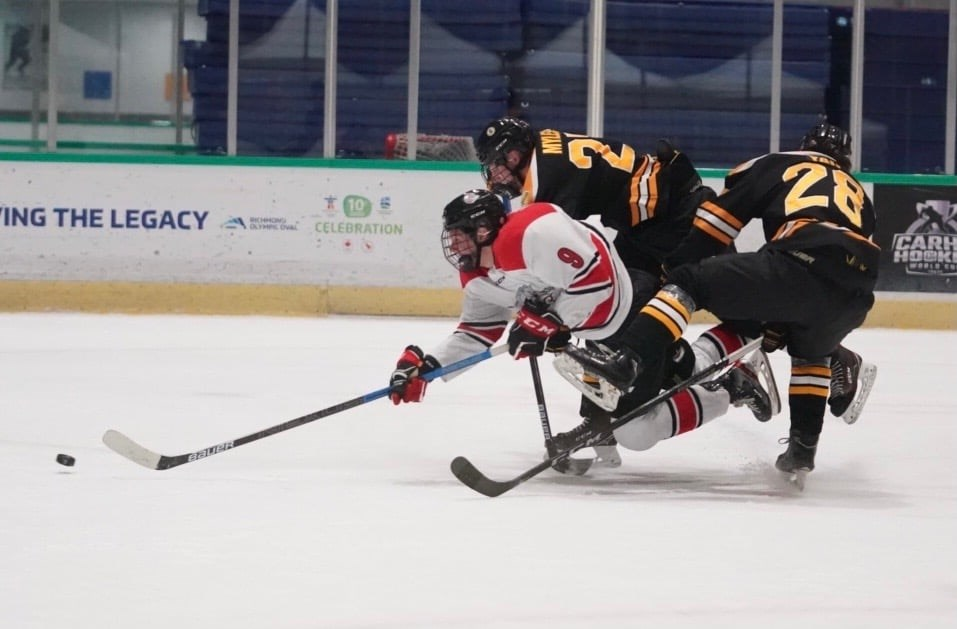 Carson Latimer (#9) is seen here as a member of the Port Moody Panthers during the abbreviated 2020-21 PJHL season.