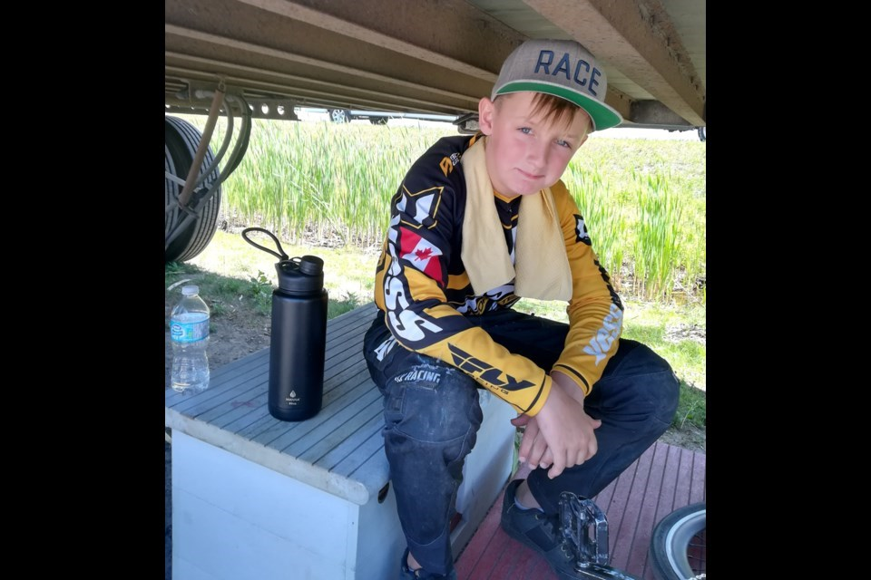 Jack Cerney takes a break between BMX races. The 12-year-old from Coquitlam was diagnosed with leukemia last January and his story is the inspiration for a new children's book to raise money for BC Children's Hospital.