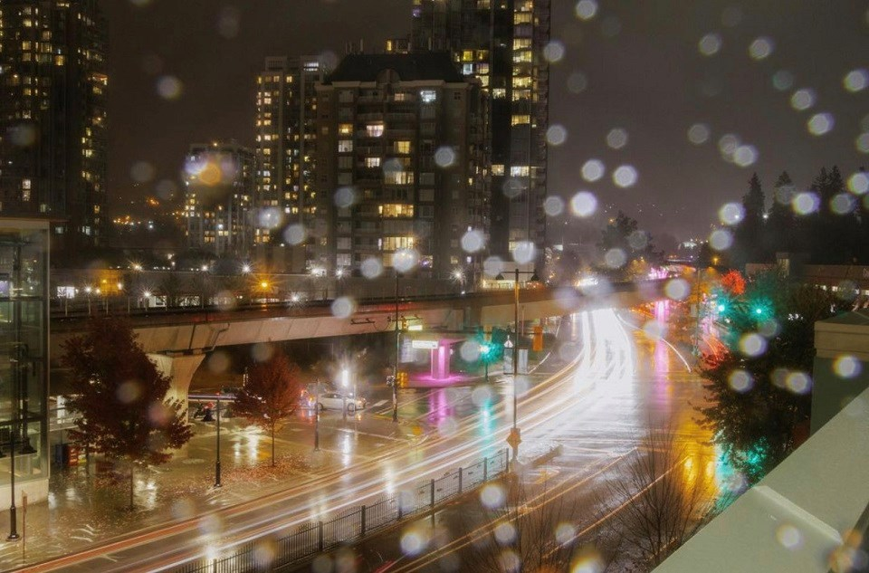 Dzenan Jauzovic - downtown Coquitlam skytrain rain wet weather fall