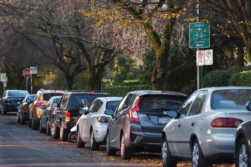Roughly 150,000 people who park their vehicle on a street in Vancouver are expected to be affected by a new climate emergency parking plan should it pass in the fall. File photo: Dan Toulgoet