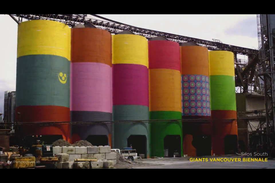 Giants by OSGEMEOS being painted. It's partway done in this screen capture of the timelapse video.