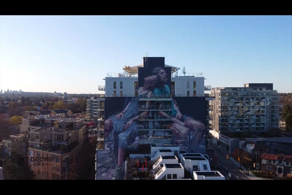 Drone footage of one of Vancouver's many massive murals.