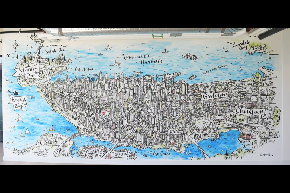 The new mural at University Canada West's campus near Vancouver House and the Granville Street Bridge captures much of the city's downtown.