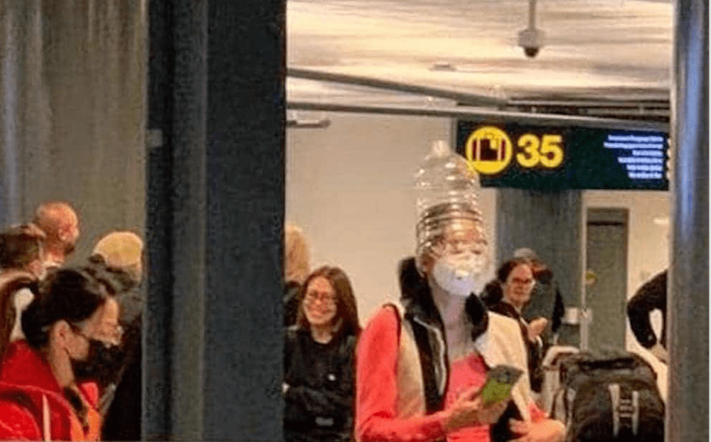 People are traveling with containers on their heads at YVR (PHOTOS)