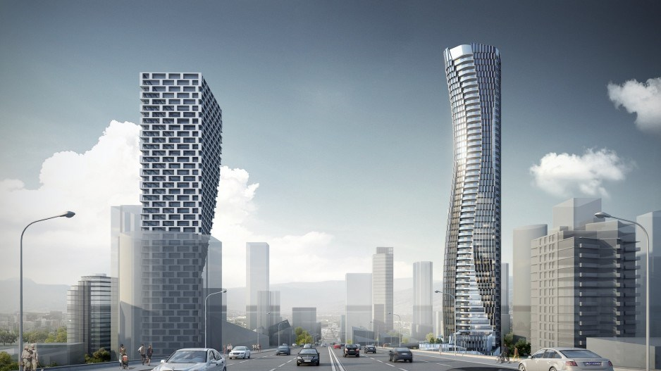Artist's rendering shows the curvy 601 Beach Crescent on the Granville Bridge's east side, opposite the more angular Vancouver House. Photo: Jyom Architecture