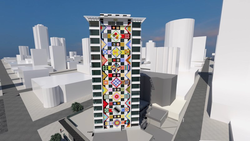 A rendering shows the exterior of 1770 Davie Street featuring artwork by Douglas Coupland