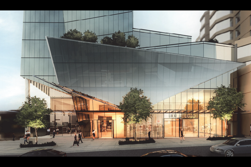 The proposed building would sit above the new Broadway subway.