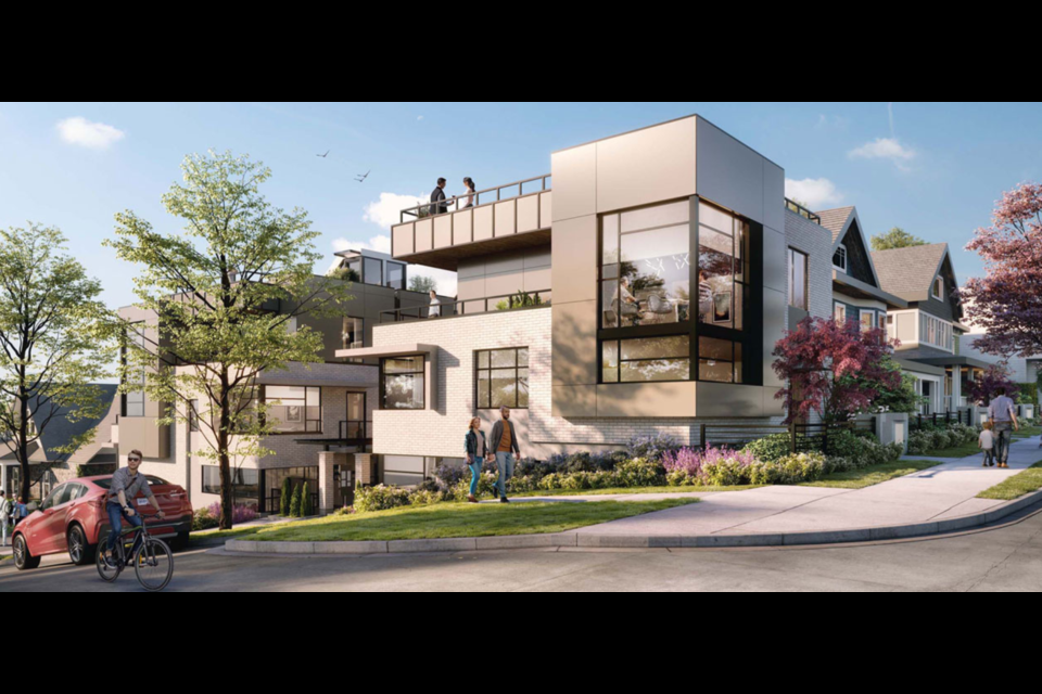 The townhouse development set to be completed by the winter of 2022 aims to incorporate the three heritage houses on 8th and Birch Street.