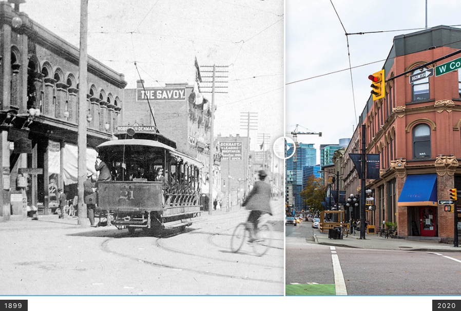 A street scene from Cambie and Cordova over 100 years apart. Vancouver Archives Item #StrP209