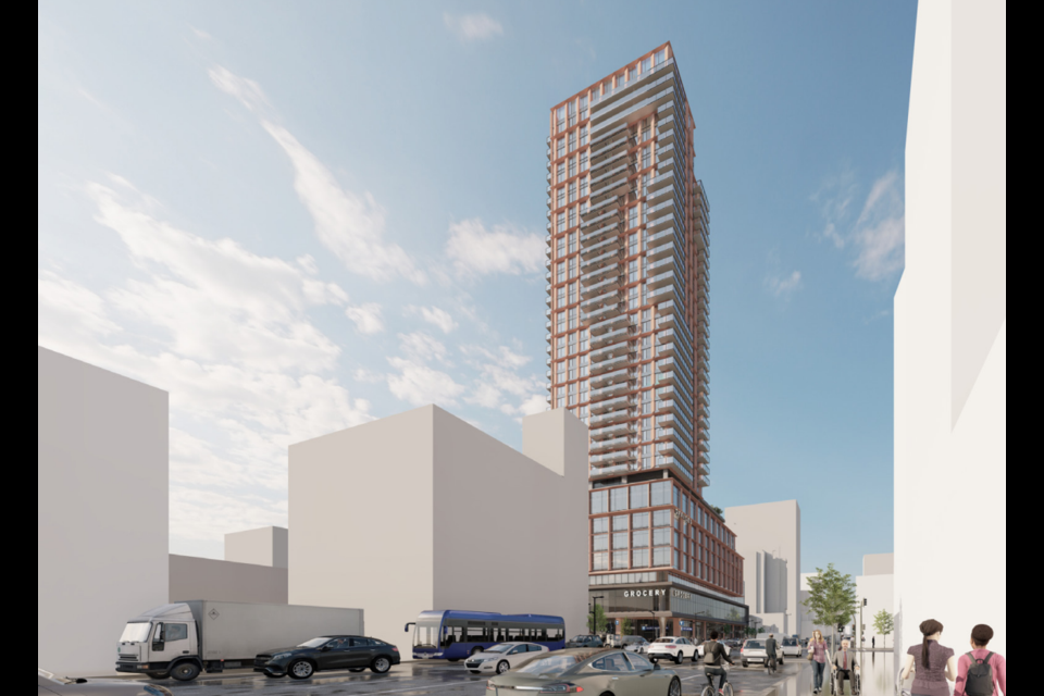 The tower at Granville Street and Broadway would be 39-storeys tall.