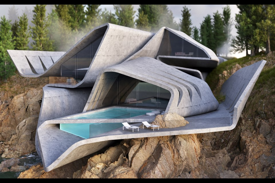 Amey Kandalgaonkar's 3D rendering of the stingray house features exposed concrete and a glass swimming pool. Photo courtesy of Amey Kandalgaonkar