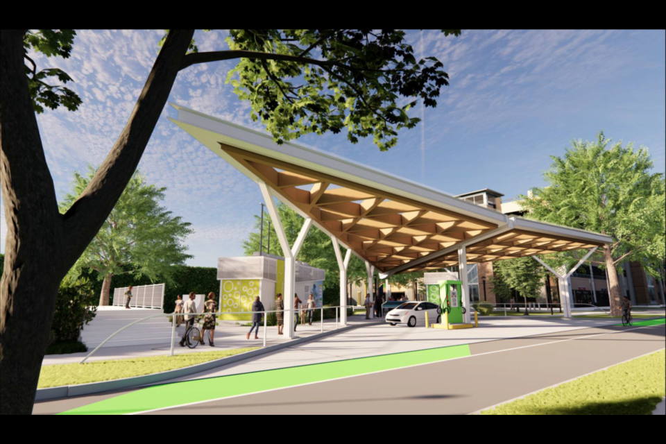 """A rendering of the smart energy/renewable hub/""""living laboratory"""" at the University of British Columbia."""