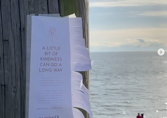 The people at Bloomier flower studio in West Vancouver distributed kindness flyers around Downtown Vancouver, Kitsilano and the North Shore.