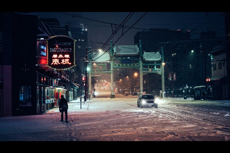 Snowmageddon in Chinatown Photo: Mazhar Bagasrawala