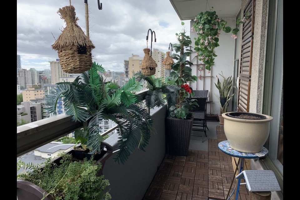 A beautiful Vancouver patio with plentiful plants, furniture, and flooring might strike you as expensive, but a woman says it helps to be resourceful.