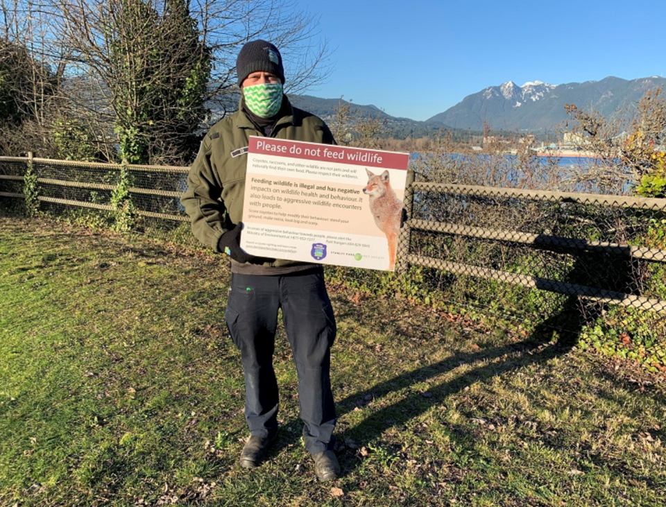 vancouver park board ranger - coyote education campaign - stanley park trails open