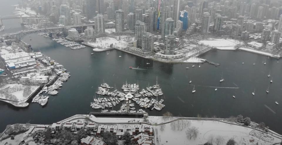 Vancouver Valentine's Day snow storm  - drone - Dimitri Alexander YouTube