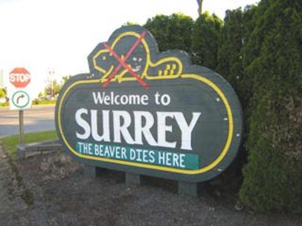 welcome-to-surrey-sign-defaced